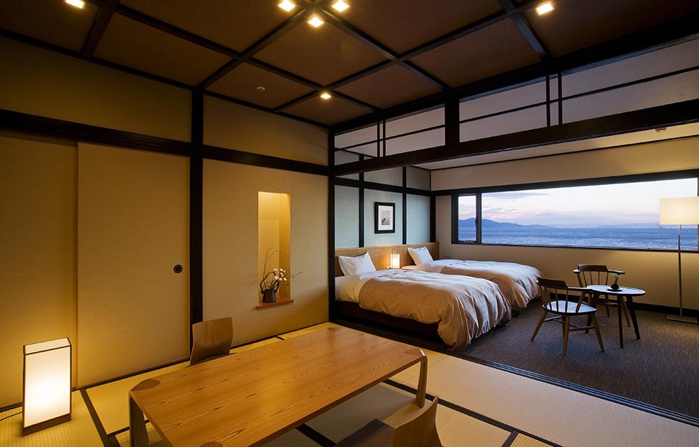 可欣賞絕景的最上層日式西式客房